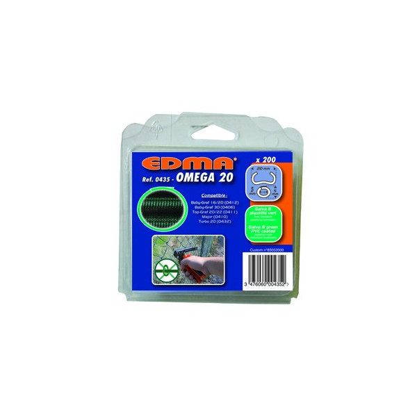 Capse galvanizate cu acoperire PVC verde 200 bucati OMEGA, dim 20 mm EDMA